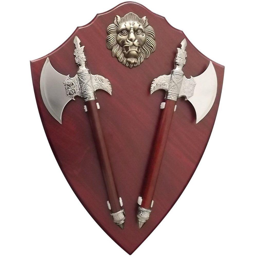 machado decorativo com suporte para parede escudo brasão