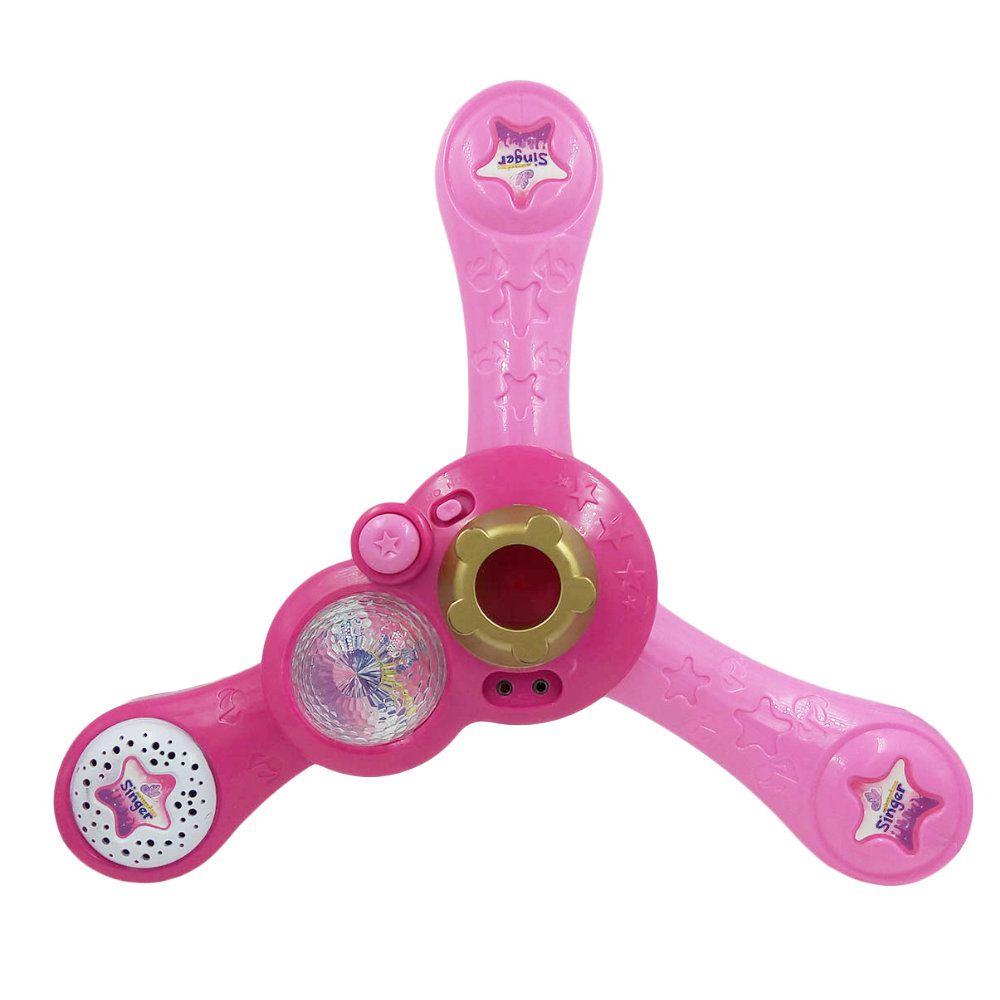 microfone infantil com amplificador e pedestal com luz e som