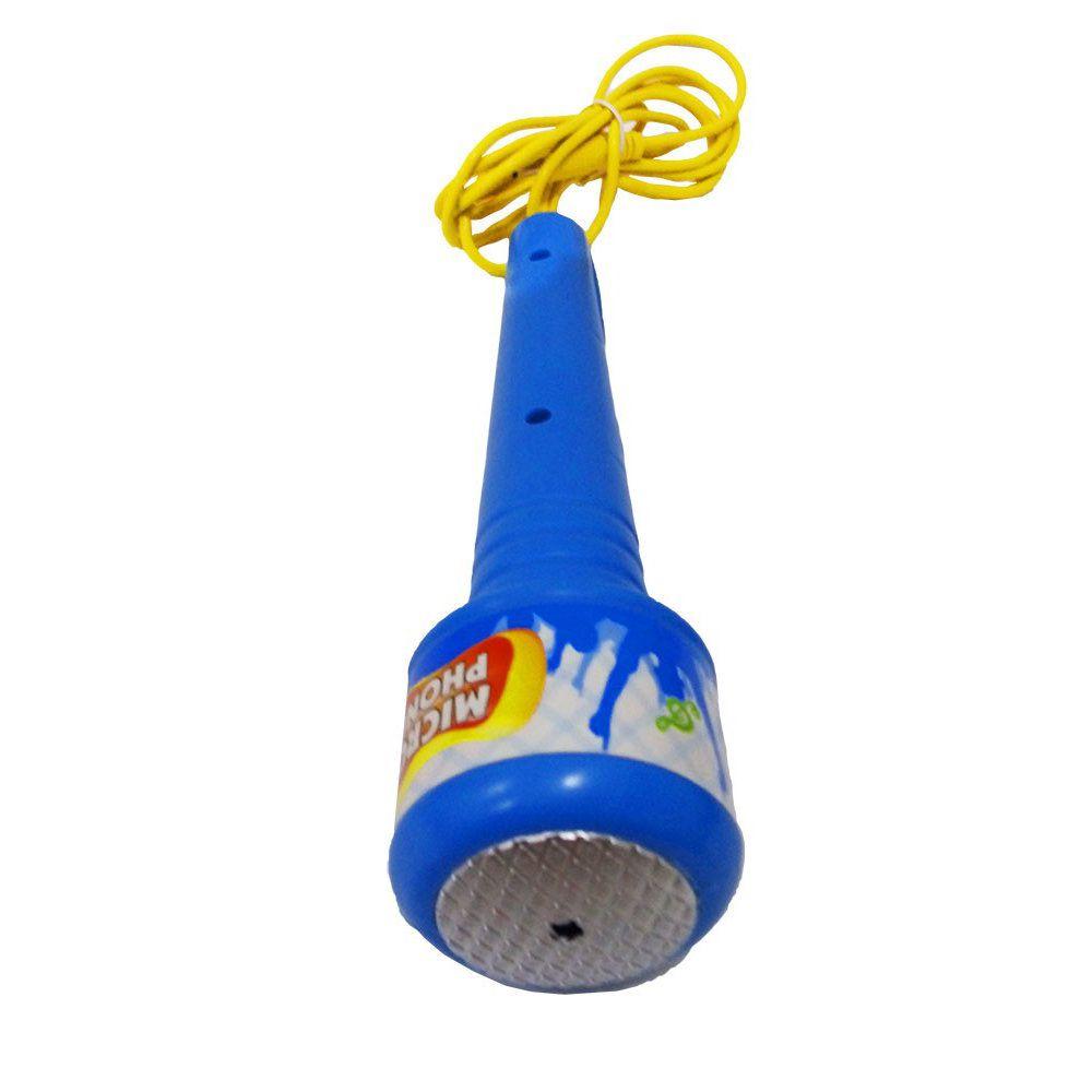 microfone infantil com pedestal e karaoke mp3 azul