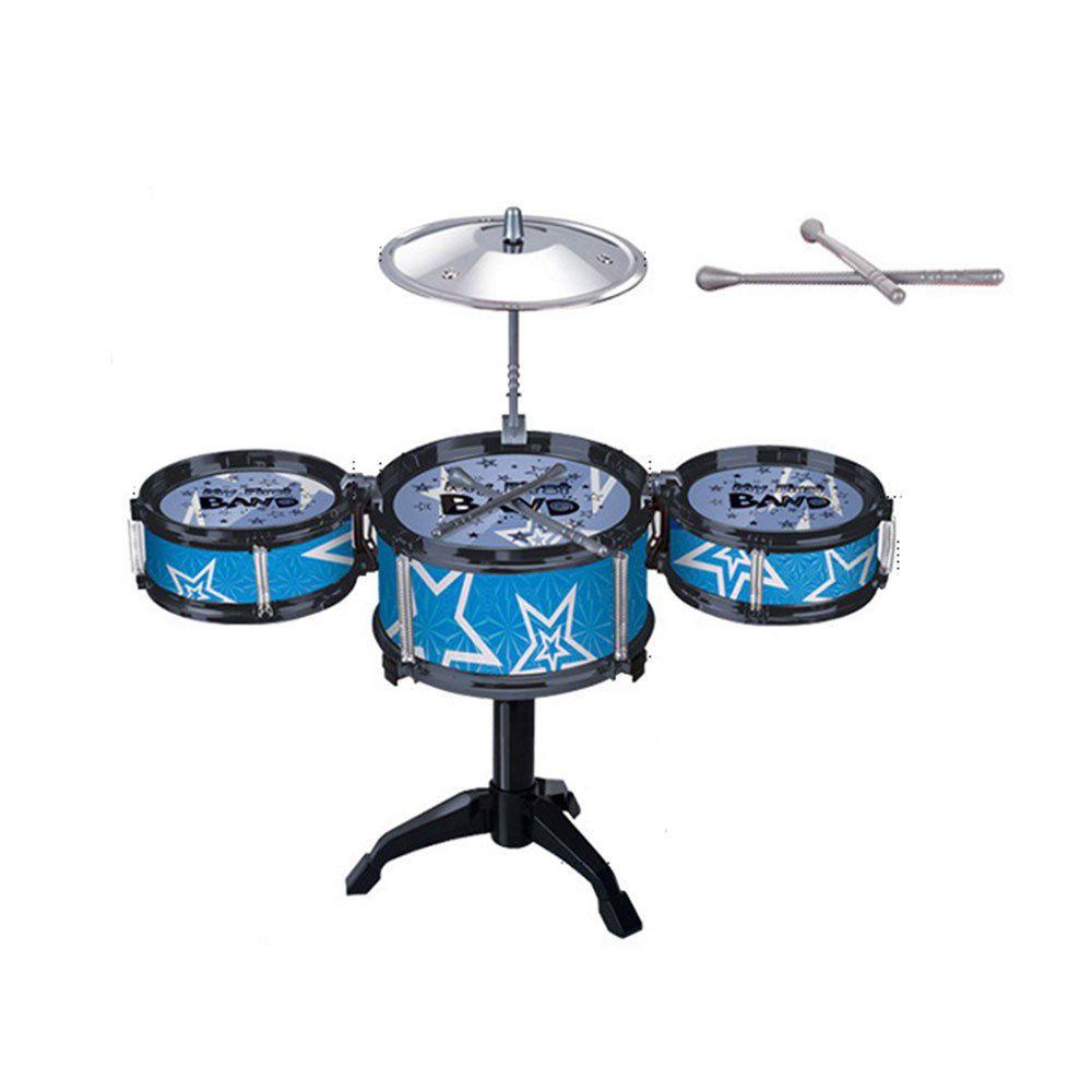 mini bateria infantil 3 tambores prato baquetas - azul