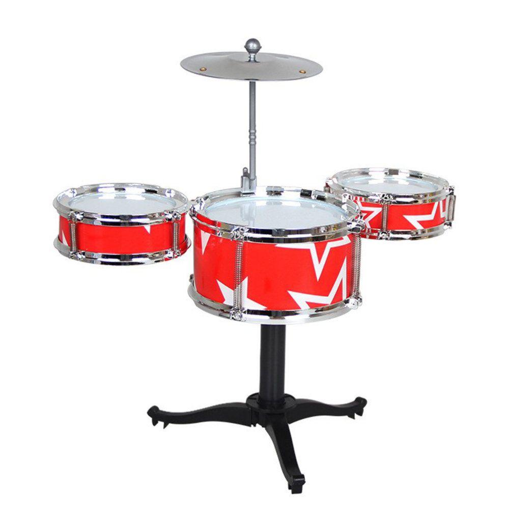 mini bateria infantil 3 tambores prato baquetas - vermelha