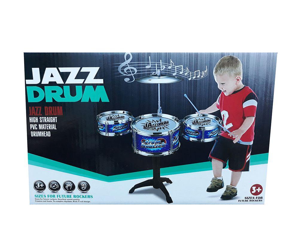 Mini Bateria Musical Infantil Jazz Drum 3 Tambores 1 Prato