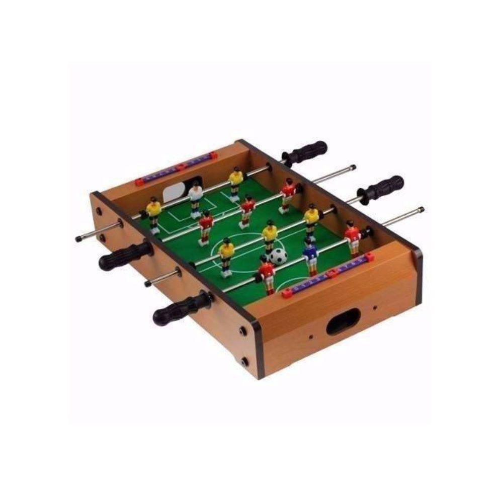 mini mesa pebolim em madeira com pés tamanho grande