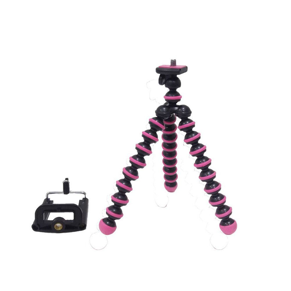 mini tripé flexível universal para câmera e celular - rosa