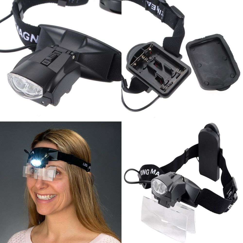 óculos lupa de cabeça com elástico 5 lentes estojo e 2 leds
