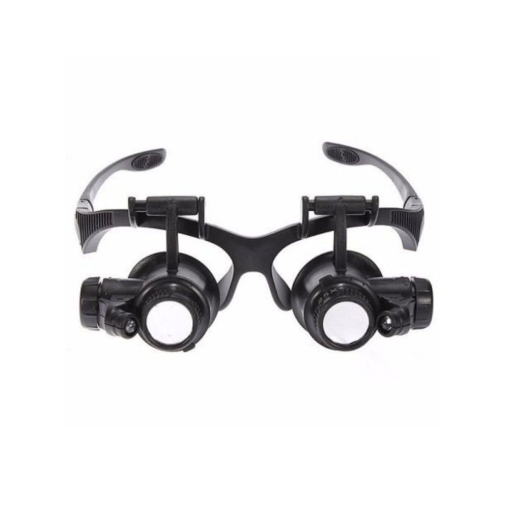oculos lupa profissional 2 luz led 4 lentes 10x 15x 20x 25x