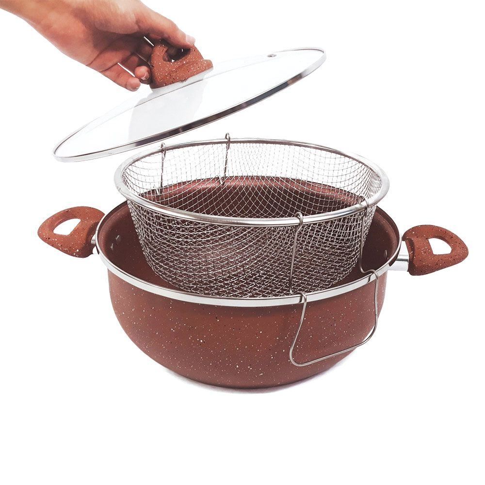 panela antiaderente caçarola fritadeira com tampa 26 cm