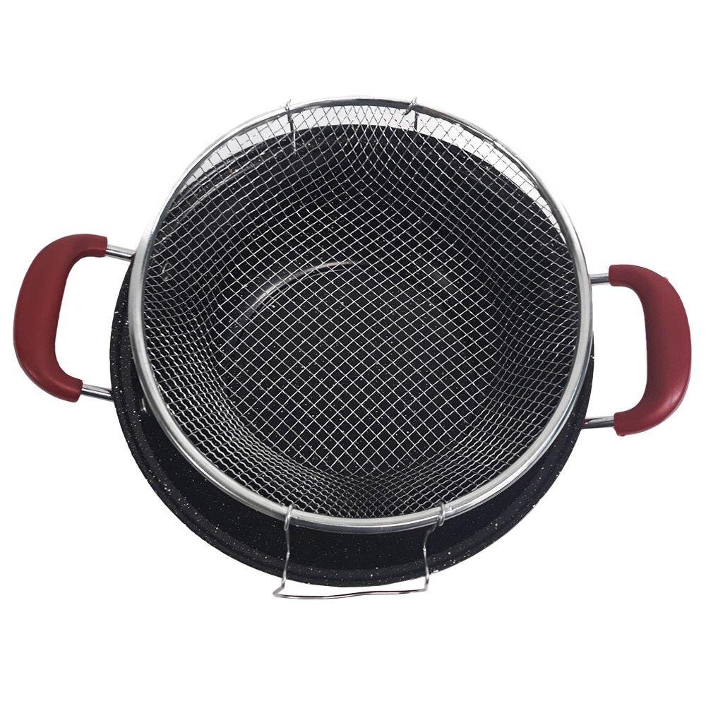 panela frigideira antiaderente com cesto e tampa 28 cm