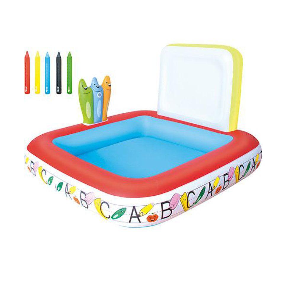 piscina infantil inflável com lousa 5 marcadores 121 litros