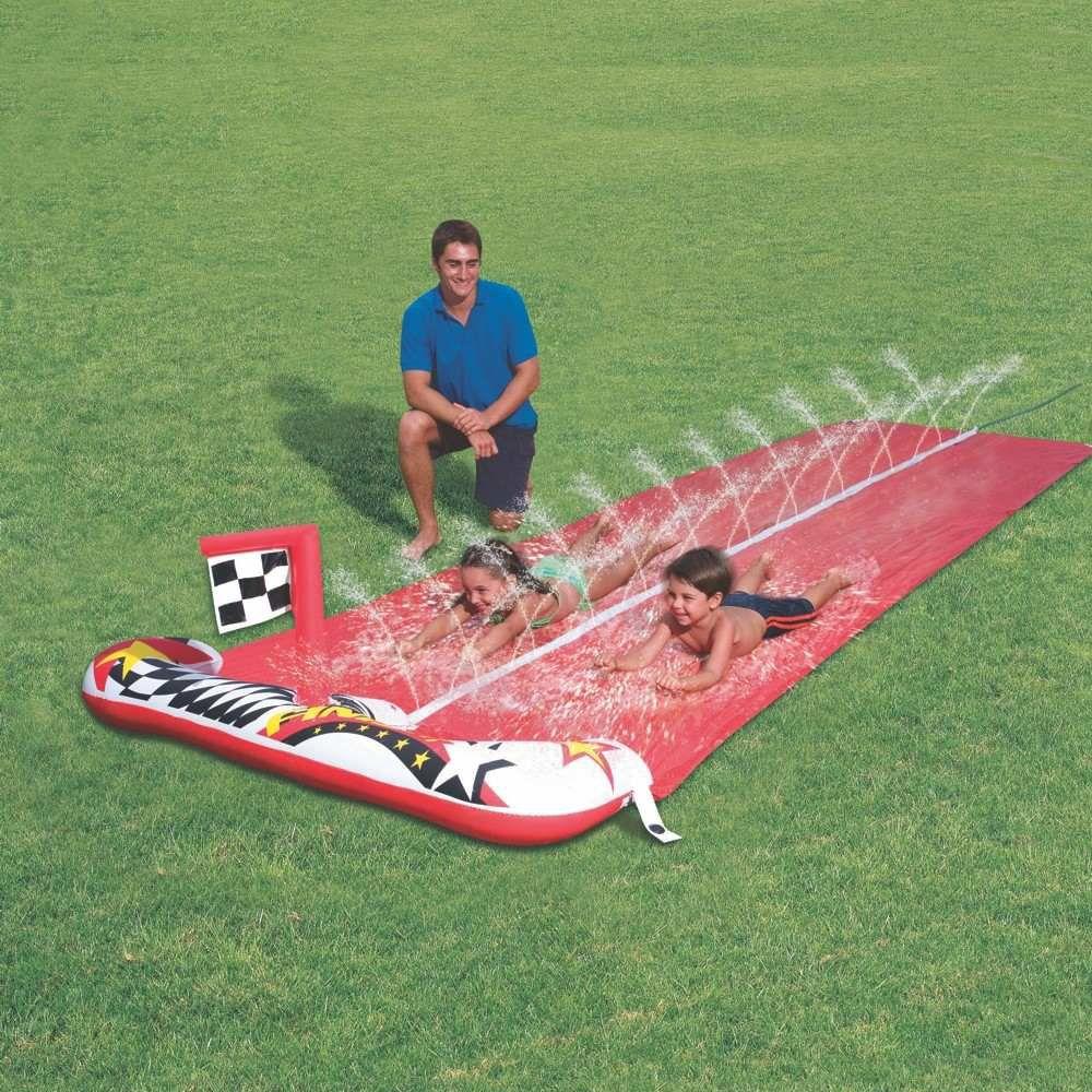 pista escorregador duplo tapete inflável com borrifador