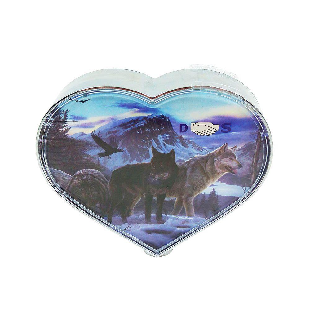 porta retrato giratório em forma de coração a pilha 11x11cm
