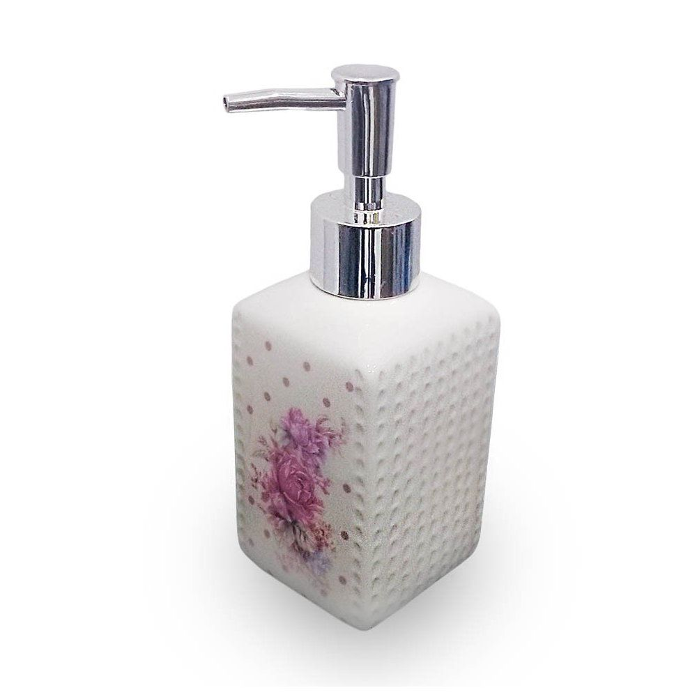 porta sabonete liquido dispenser em cerâmica 330ml - rosa