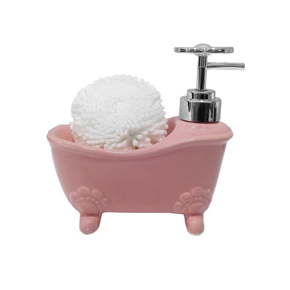porta sabonete liquido retro em porcelana 200ml - rosa