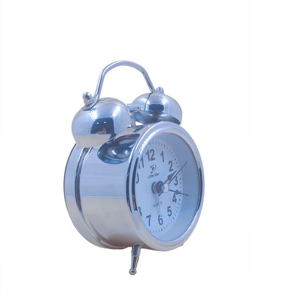 relógio de mesa despertador analógico Inox com dois sinos