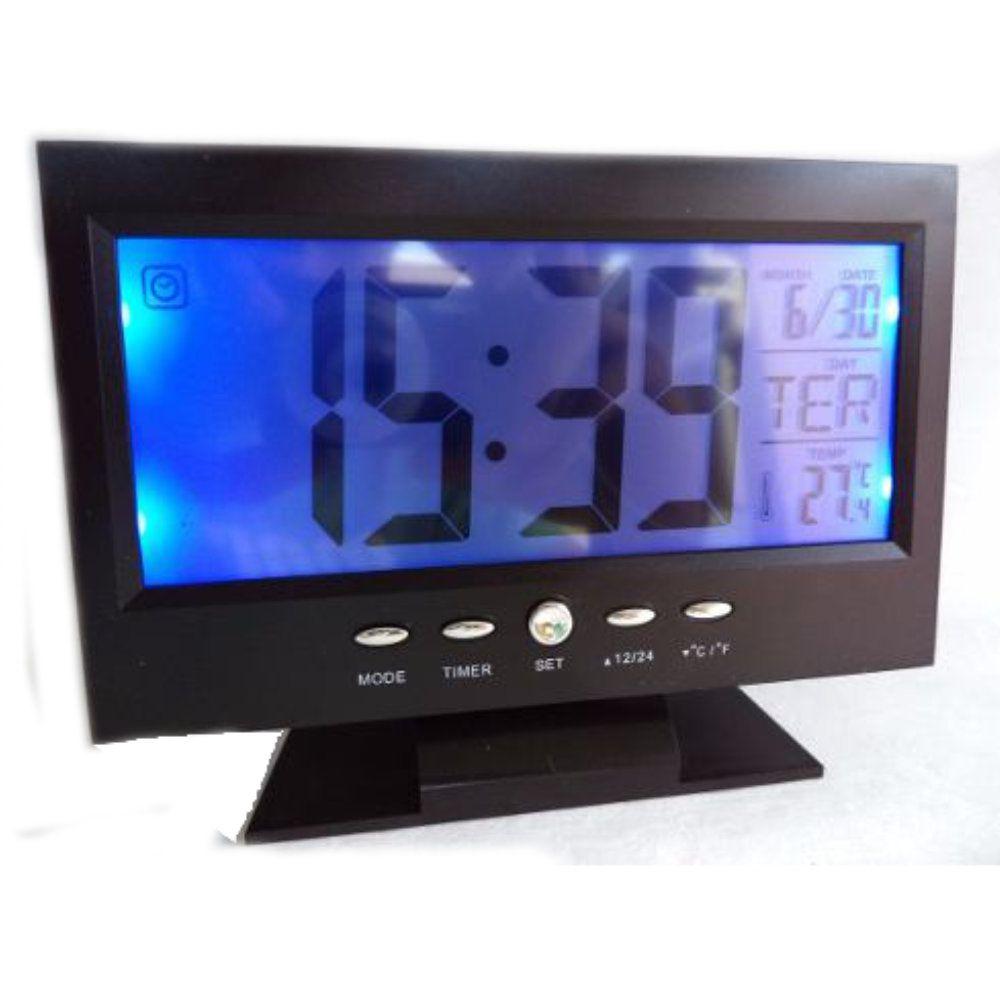 relógio de mesa despertador digital com termômetro e sensor