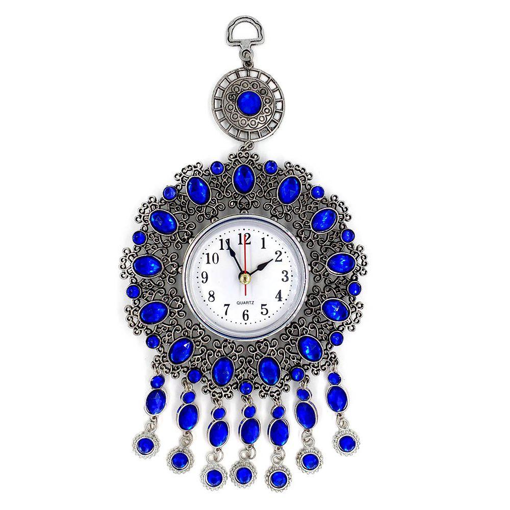 relógio de parede analógico decorativo com pedrinhas azuis