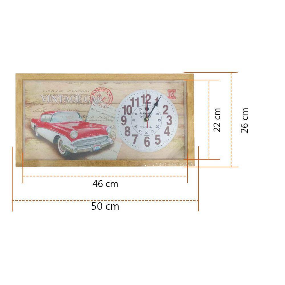 relógio de parede quadro decorativo em madeira 26x50cm - r03