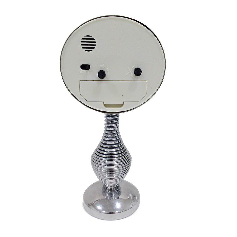 relógio despertador de mesa analógico inox com base de mola