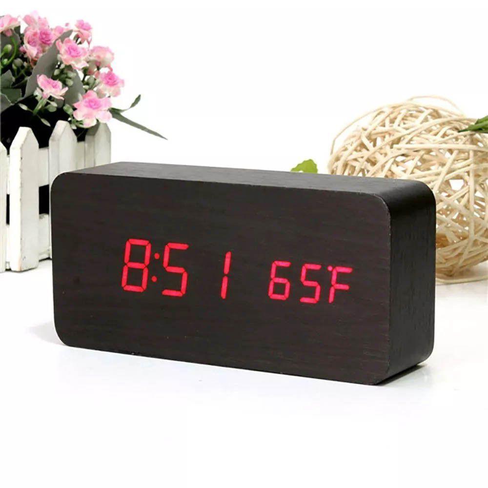 relógio digital em madeira com temperatura e alarme - preto