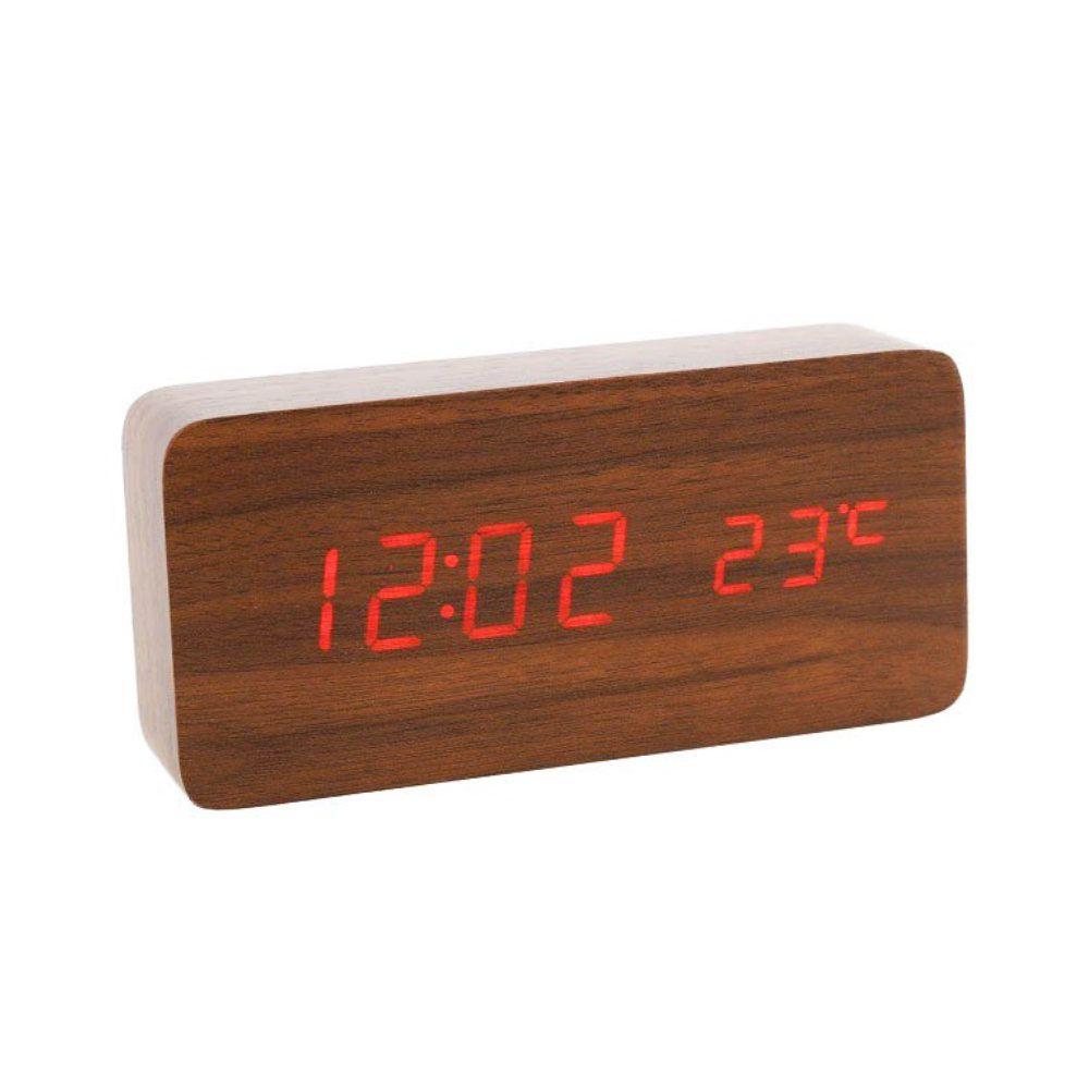 relógio digital em madeira temperatura e alarme - marrom