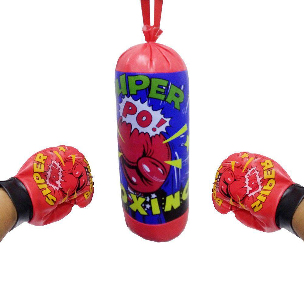 saco de boxe infantil com alça e par de luvas