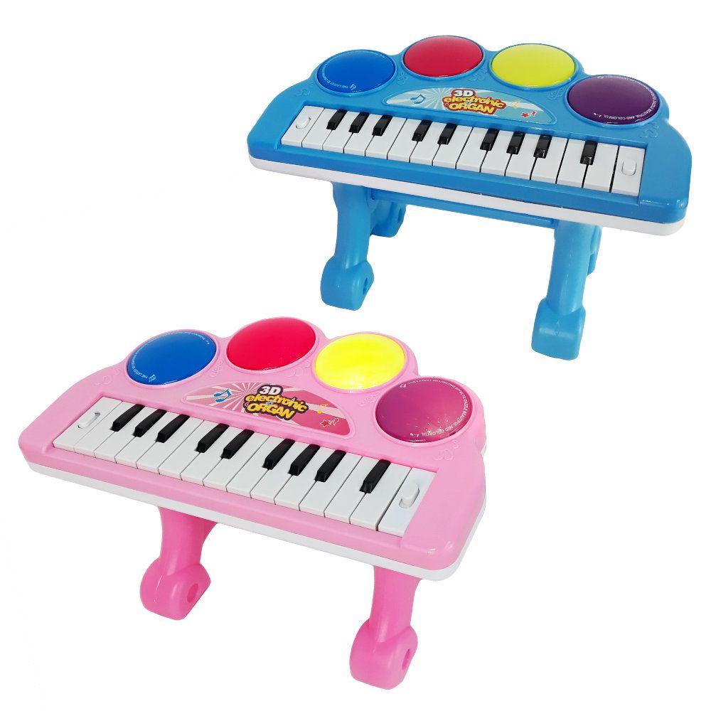 teclado infantil baby musical com apoio som melodias e luzes