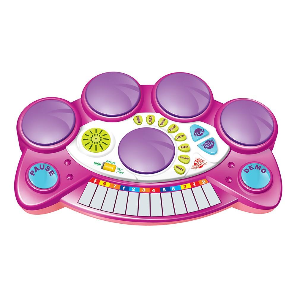 teclado infantil eletrônico 2 em 1 com bateria e banquinho