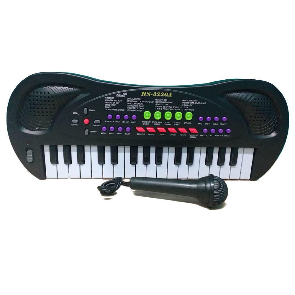 teclado infantil piano 32 teclas volume ajustável microfone