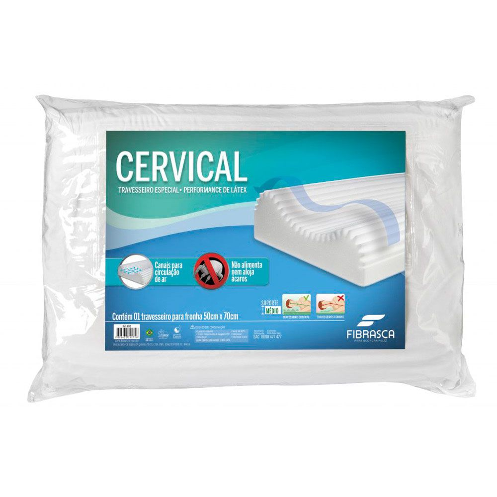 travesseiro cervical anti-ácaros performance látex