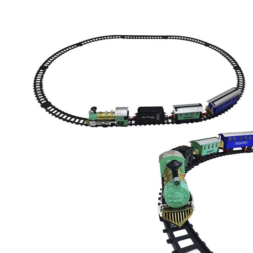 trem ferrorama expresso a pilha com 14 peças com som e farol