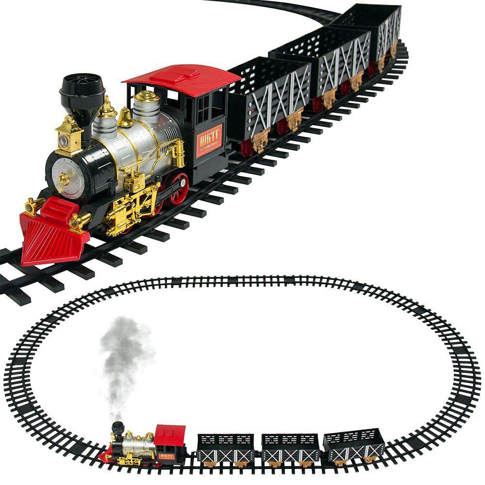 trem ferrorama locomotiva com 20 peças com luz e sons