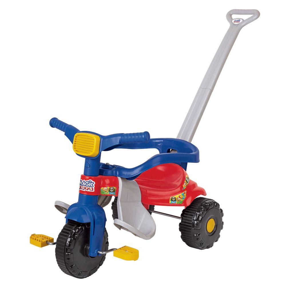triciclo infantil tico-tico com haste e aro protetor - azul