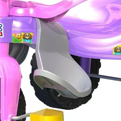 triciclo infantil tico-tico com haste e aro protetor - Rosa