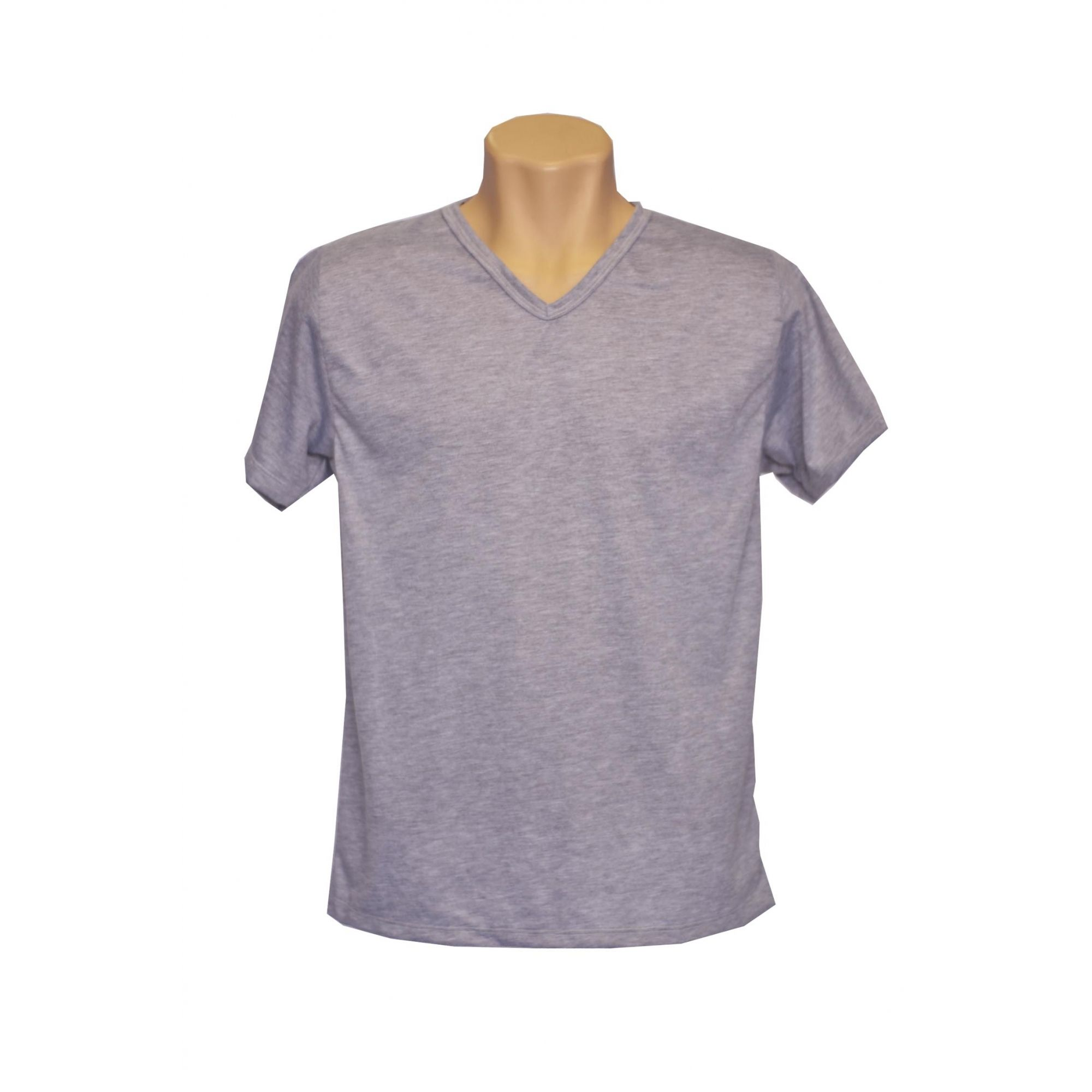 Camiseta adulta manga curta gola v cinza mescla