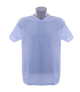 Camiseta adulta manga curta gola v branca