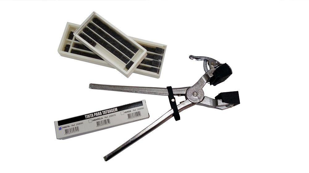 Cjto Tatuadeira aço Inox 4 espaços - Cabo Curto - Eletro Polida - 10mm - L10x17.5