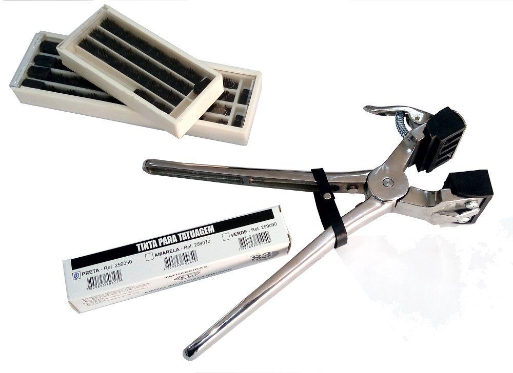 Cjto Tatuadeira aço Inox 4 espaços - Cabo Curto - Polida - 10mm - L10x17.5