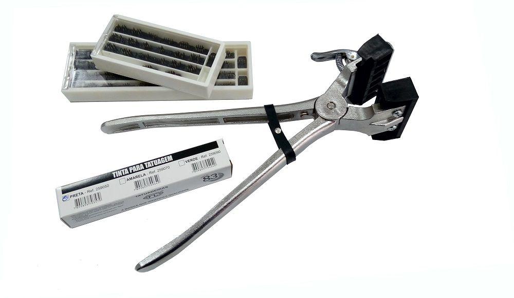 Cjto Tatuadeira aço Inox 6 espaços - Cabo Longo - Eletro Polida - 10mm - L10x17.5