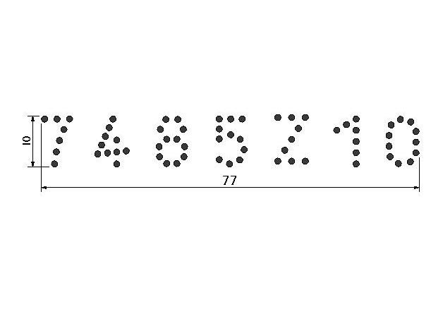 Cjto Tatuadeira aço Inox 7 espaços - Cabo Longo - Polida - 10mm - L10x17.5