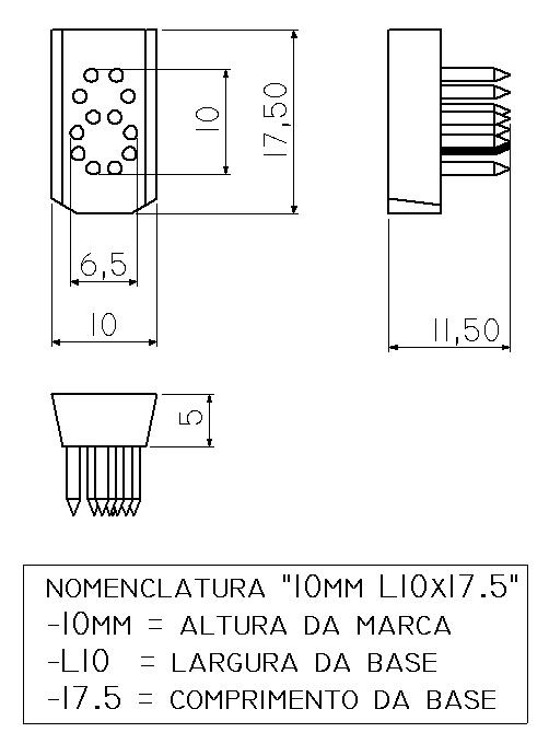 Jogo Números L10x17.5 (10mm) - 4 Espaços