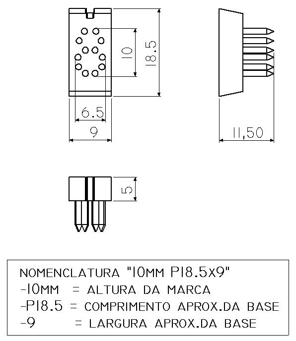Jogo Números P18.5 x 9 (10 mm) - 5 Espaços