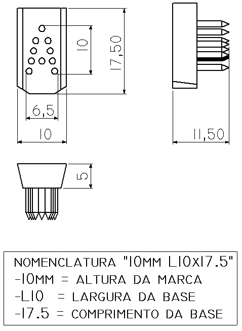 LETRA A a Z - TATUADEIRA ORELHA 10 MM L10 X 17.5 AVULSA