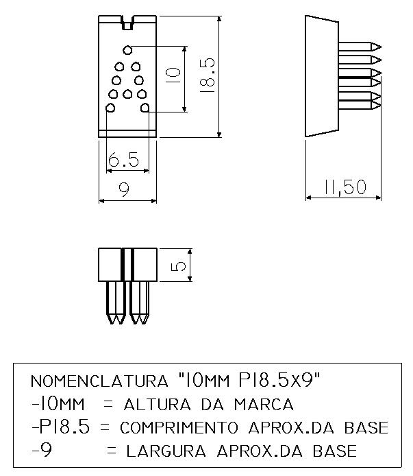 LETRA A a Z - TATUADEIRA ORELHA 10MM P18.5x9 AVULSA