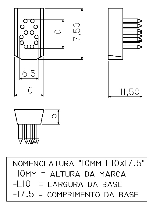 NUMERO 0 a 9 - TATUADEIRA ORELHA 10 MM L10 X 17.5 AVULSO