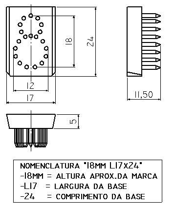 NUMERO 0 a 9 - TATUADEIRA ORELHA 18 MM L17 x 24 AVULSO