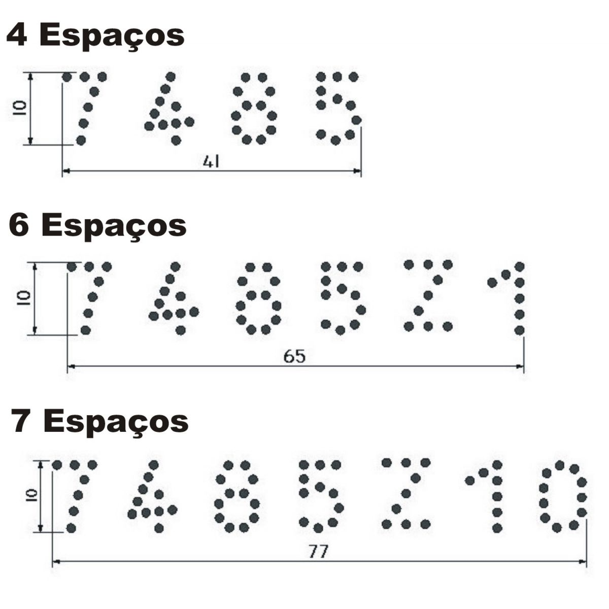 Tatuadeira Inox 4, 6, ou 7 Espaços - Cabo Longo - Eletro Polida - 10 mm - L10 x 17.5 sem números