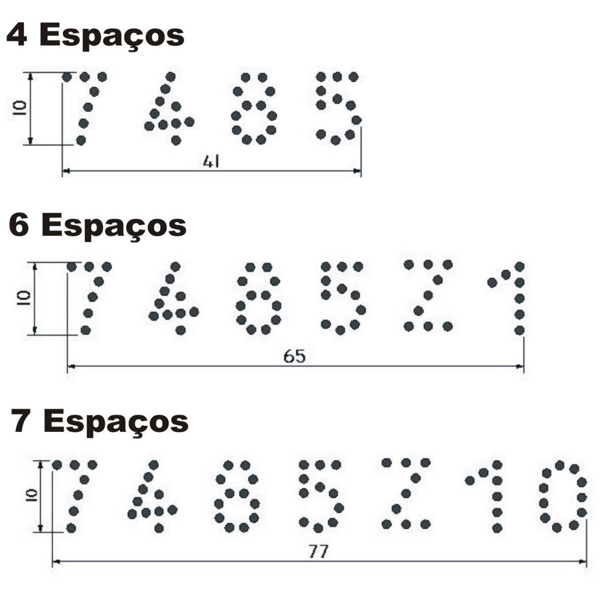 Tatuadeira Inox 4, 6, ou 7 Espaços - Cabo Longo - Polida - 10 mm - L10 x 17.5 sem números