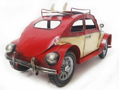 Fusca Vintage Retro De Latao Decoracao 26cm Vermelho (CJ-002)