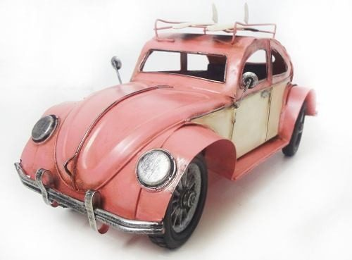 Fusca Vintage Retro De Latao Decoracao 26cm Rosa (CJ-002)