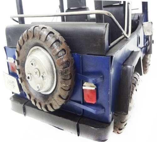 Jeep Automovel Rubicon De Ferro Fundido Vintage Retro 40cm Azul (CJ-004)